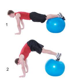 oefeningen buikspieren met fitnessbal